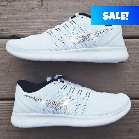 Zapatos Nike Free Swarovski Crystal Bling Free Nike Rn Blanco Poshmark 8525d6